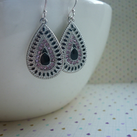 BLACK, PINK AND SILVER PAISLEY, TEARDROP BOHO STYLE EARRINGS.  1072