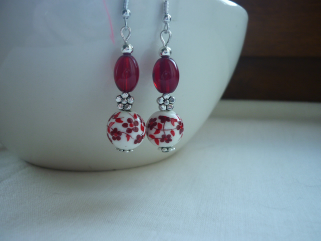 RED, WHITE AND SILVER CERAMIC BEAD EARRINGS  1076
