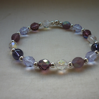 PURPLE, PINKS, LILAC, AB CRYSTAL AND SILVER BRACELET.  1103