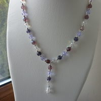 PURPLE, PINKS, LILAC, AB CRYSTAL AND SILVER NECKLACE.  1102