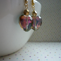 ROSE AB, GREEN AND GOLD CRYSTAL HEART EARRINGS.