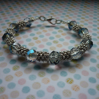 BLUE, AB CRYSTAL AND SILVER BRACELET.