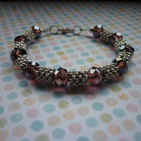 PURPLE, AB COPPER AND SILVER BRACELET.