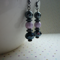 HEMATITE, MOTTLED PINK AND SILVER EARRINGS.