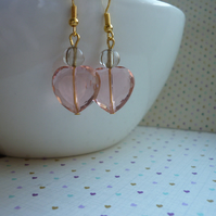 PEACH AND GOLD CRYSTAL HEART EARRINGS,