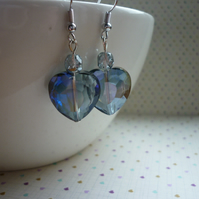 BLACK DIAMOND AND SILVER HEART CRYSTAL EARRINGS.