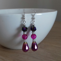 PINK AND SILVER MULTI COLOURED EARRINGS