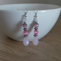SHADES OF PINK AND SILVER DANGLE EARRINGS.