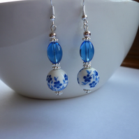 BLUE, WHITE AND SILVER - PORCELAIN BEAD DANGLE EARRINGS.