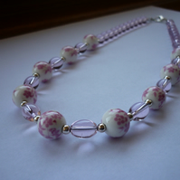 PINK, WHITE AND SILVER - PORCELAIN BEAD NECKLACE.