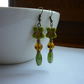 SHADES OF GREEN, AMBER AND BRONZE, FLOWER DANGLE EARRINGS.