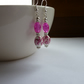 DEEP PINK, WHITE AND SILVER FLORAL CERAMIC DANGLE EARRINGS.