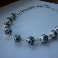BLUE, WHITE, CRYSTAL AND SILVER - PORCELAIN BEADS NECKLACE.