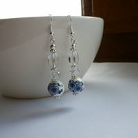 BLUE, WHITE, CRYSTAL AND SILVER - PORCELAIN BEAD DANGLE EARRINGS.