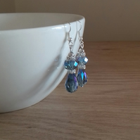 BLUE, CRYSTAL, RHINESTONE AND SILVER DANGLE EARRINGS.