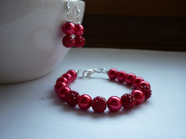 RED AND SILVER, PEARL AND PAVE BEAD, BRACELET AND EARRING SET.