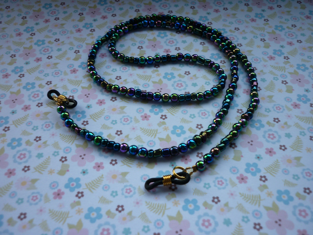 LANYARD, GLASSES, SPECTACLES AND SUN GLASSED CHAIN - ELECTRA PLATE GLASS BEADS.