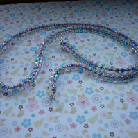 LANYARD, SPECTACLE, GLASSES AND SUNGLASSES CHAIN - PASTEL AND SILVER GLASS BEADS