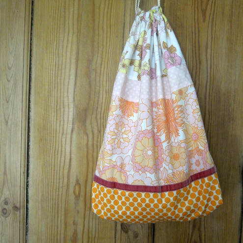 Large Vintage Fabric Laundry Bag