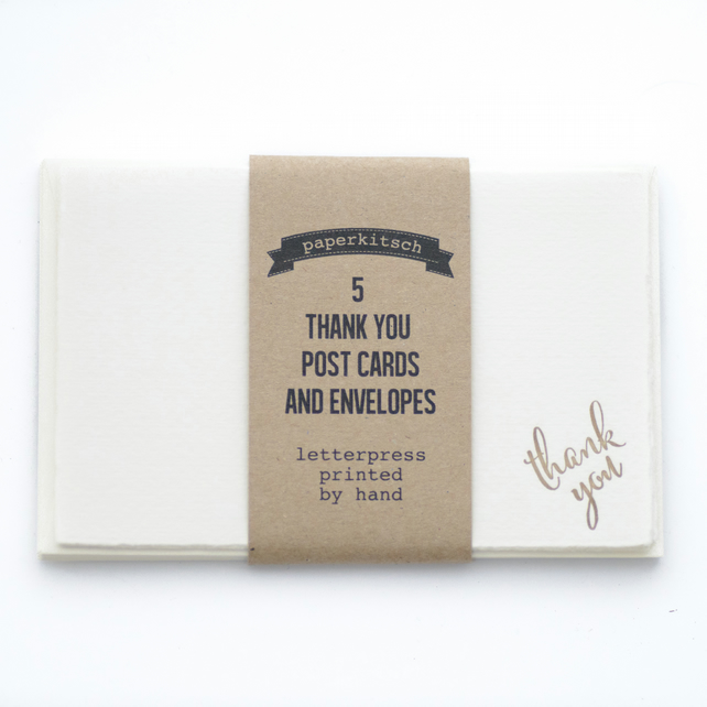 Set of 5 Thank You Letterpress Cards