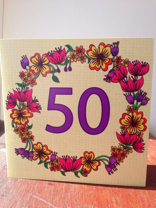 Flower 50th Greeting Card
