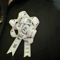 White Tape Measure Brooch