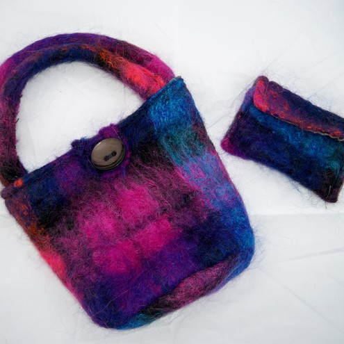 felted mini bag and coin purse