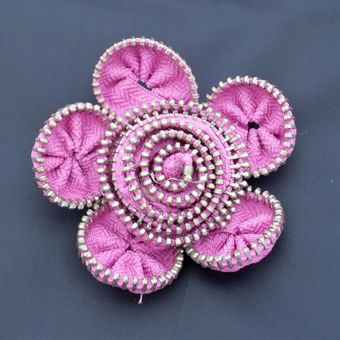 pink zip flower brooch