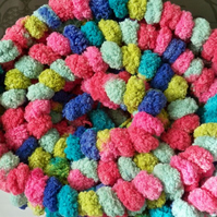 multi colour pompom scarf