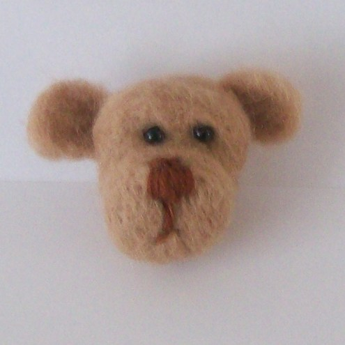 Needle Felted Cute  Head Brooch, Keyring or Bag Charm