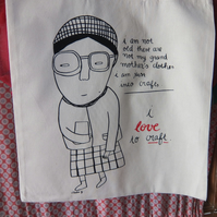 'I love to craft' screen-printed tote bag