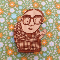 Mr Grand Potato -wooden brooch