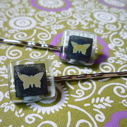 Two fused glass hairslides - Butterflies