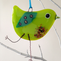 Lime Green fused glass bird