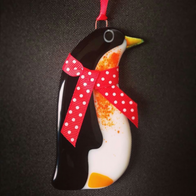 Fused Glass Penguin Christmas Decoration