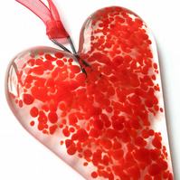 Red Fused Glass Heart
