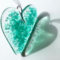 Emerald & Pale Blue Fused Glass Heart