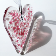 Cranberry & Pale Pink Fused Glass Heart