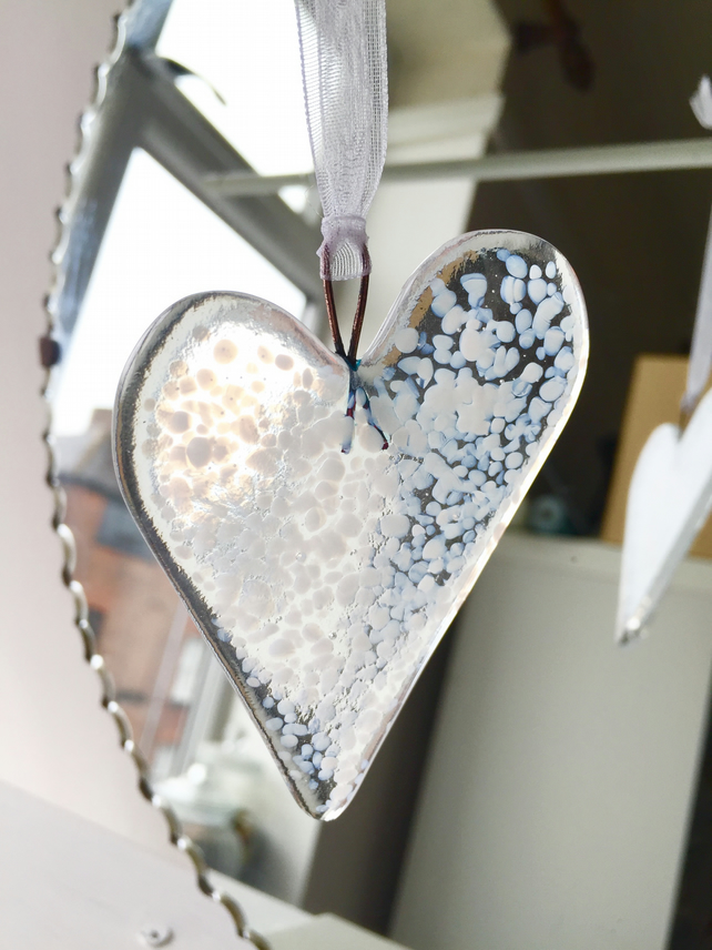 White Fused Glass Heart