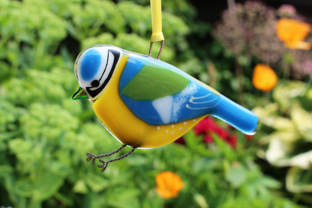 Fused glass Blue Tit