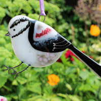 Fused glass Long Tailed Tit