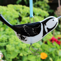 Fused glass Pied Wagtail