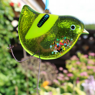 Green fused glass bird
