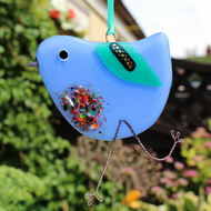 Periwinkle fused glass bird