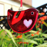 Red Fused Glass Bird with white love heart belly