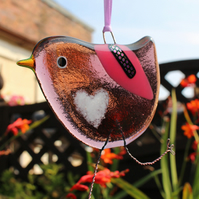 Plum Fused Glass Bird with white love heart belly