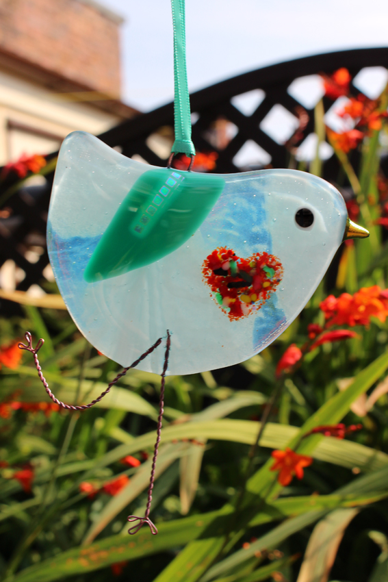 Pale Blue Swirl fused glass bird with love heart belly