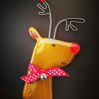 Fused Glass Rudolf the Red Nosed Reindeer Christmas Decoration