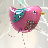 Pink fused glass bird