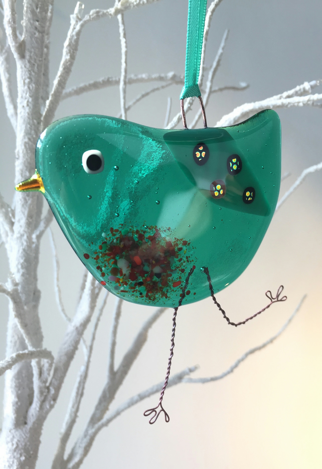 Emerald fused glass bird